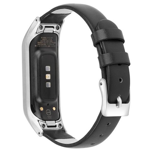 iMoshion Echt Lederen Smartwatch Bandje voor de Samsung Galaxy Fit - Zwart