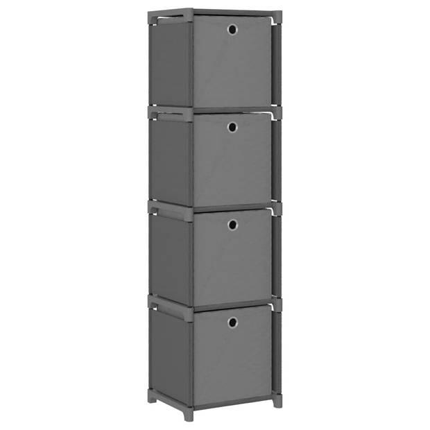 vidaXL Kast met 4 vakken met boxen 69x30x72,5 cm stof grijs