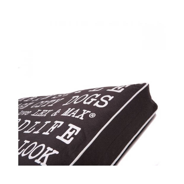 Lex & Max Hondenkussen Text Urban Grijs - Boxbed - 120 x 80cm - Kussenhoes