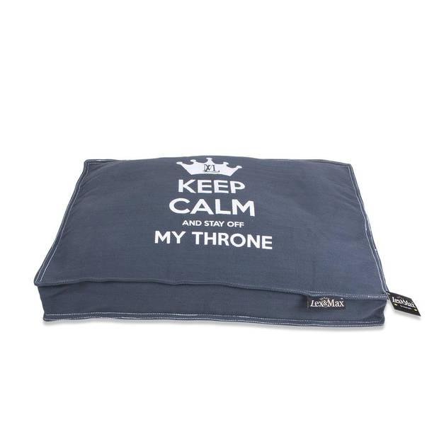 Lex & Max Hondenkussen Keep Calm Grijs - Boxbed - 75 x 50cm - Kussenhoes