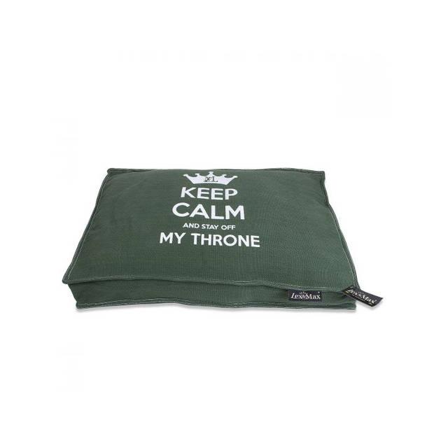 Lex & Max Hondenkussen Keep Calm Donkergroen - Boxbed - 75 x 50cm