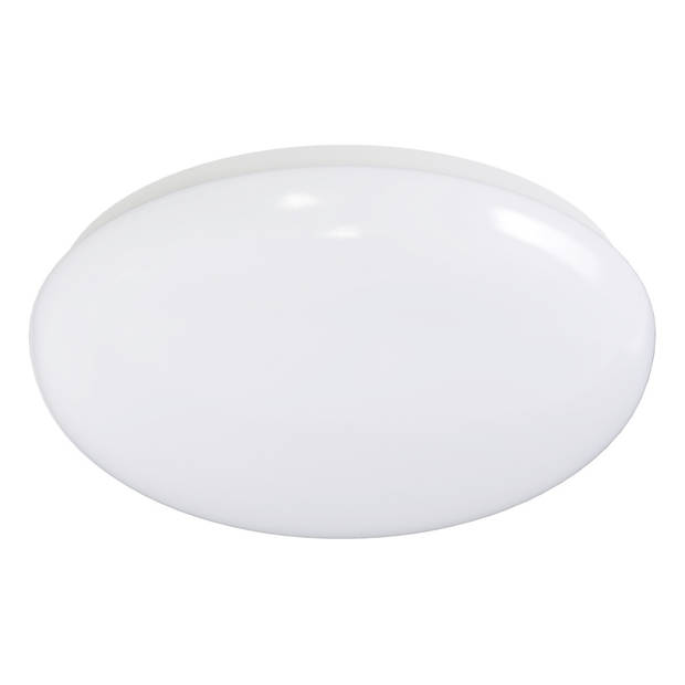 LED Plafondlamp met Bewegingssensor - Aigi - Opbouw Rond 18W - Warm Wit 3000K - 360° - Mat Wit Aluminium