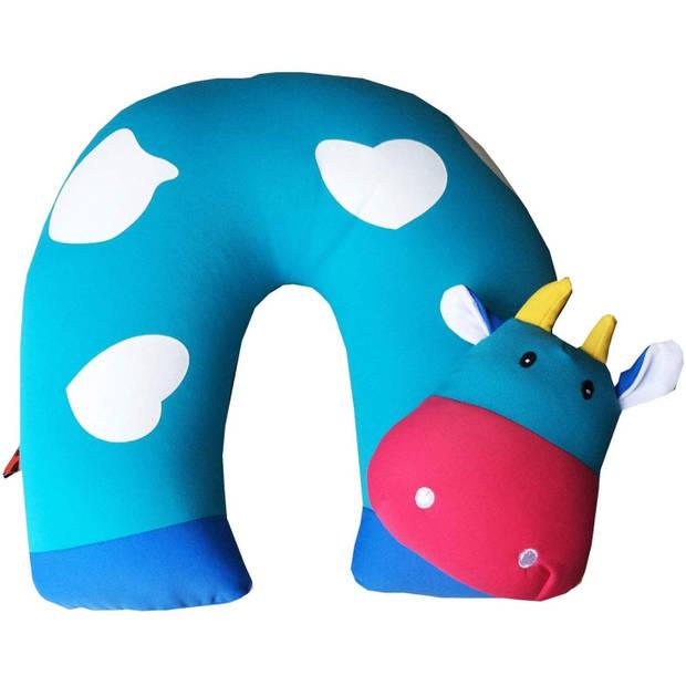 Cuddlebug nekkussen Cow 30 x 30 cm blauw
