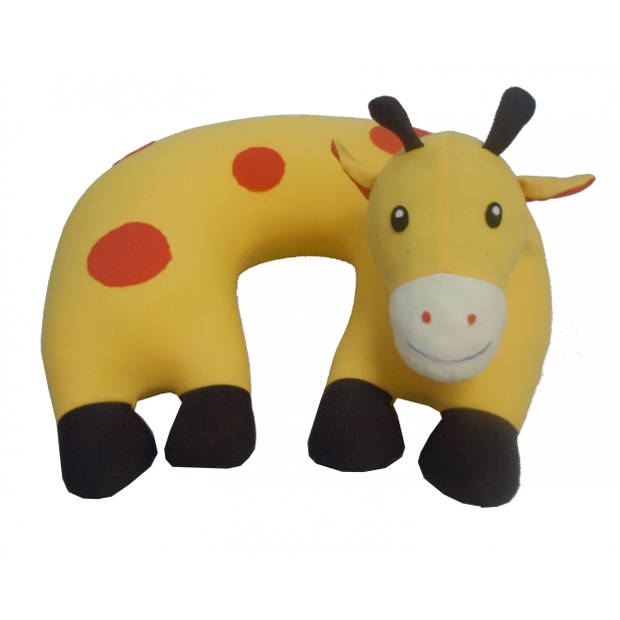 Cuddlebug nekkussen Giraffe 30 x 30 cm geel