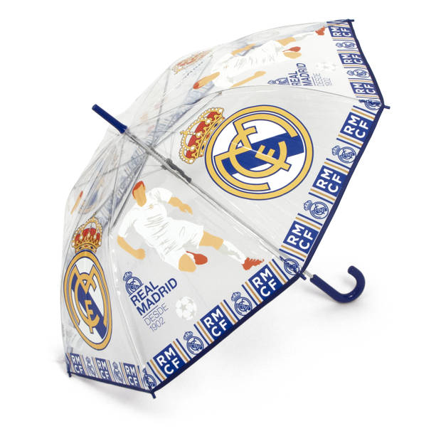 Real Madrid paraplu junior 58 cm wit/blauw/geel