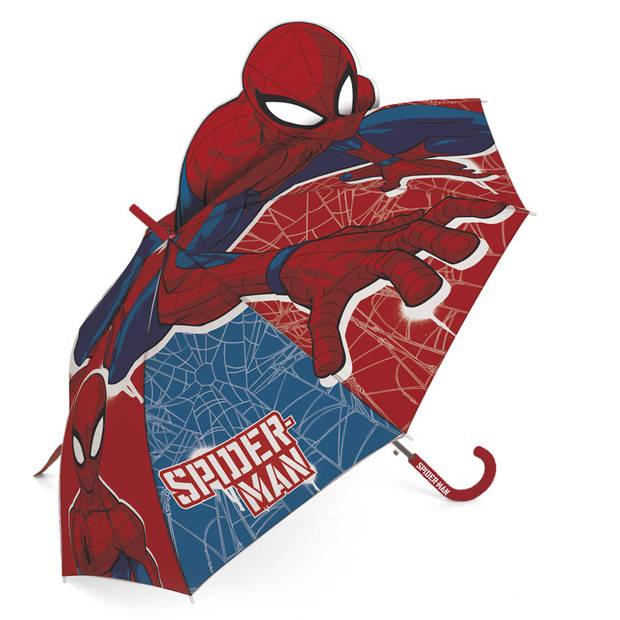 Marvel paraplu Spiderman junior 69 cm rood/blauw