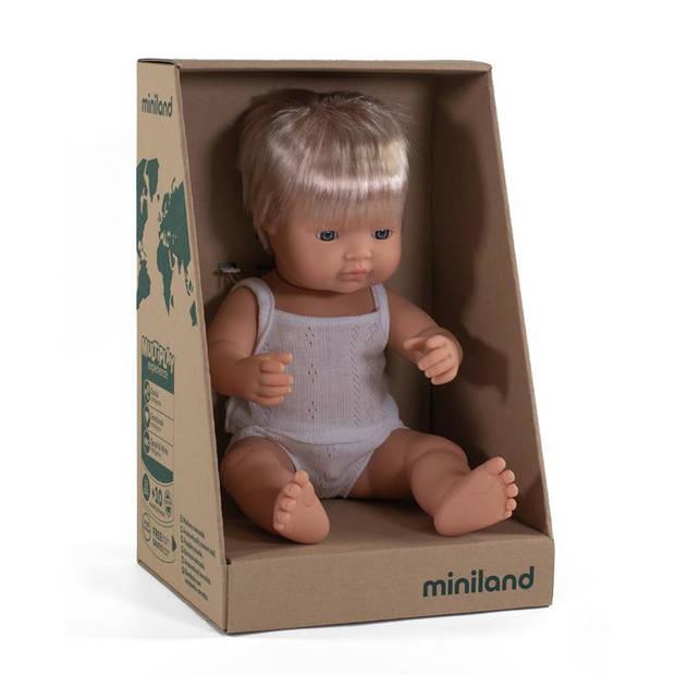 Miniland babypop jongetje met vanillegeur 38 cm blond