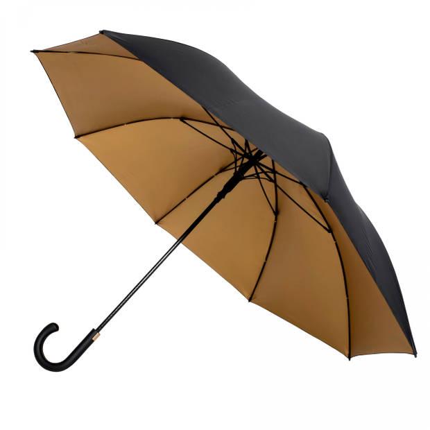 Falcone golfparaplu 93 x 120 cm polyester/fiberglass zwart/goud