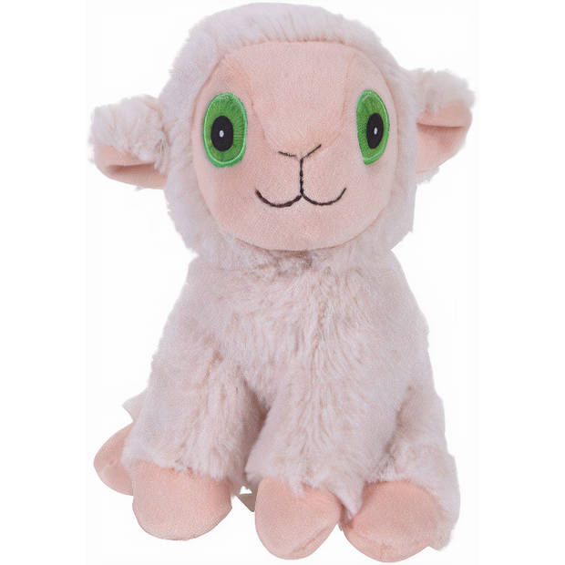 Free and Easy knuffelschaap 20 x 16 cm pluche wit