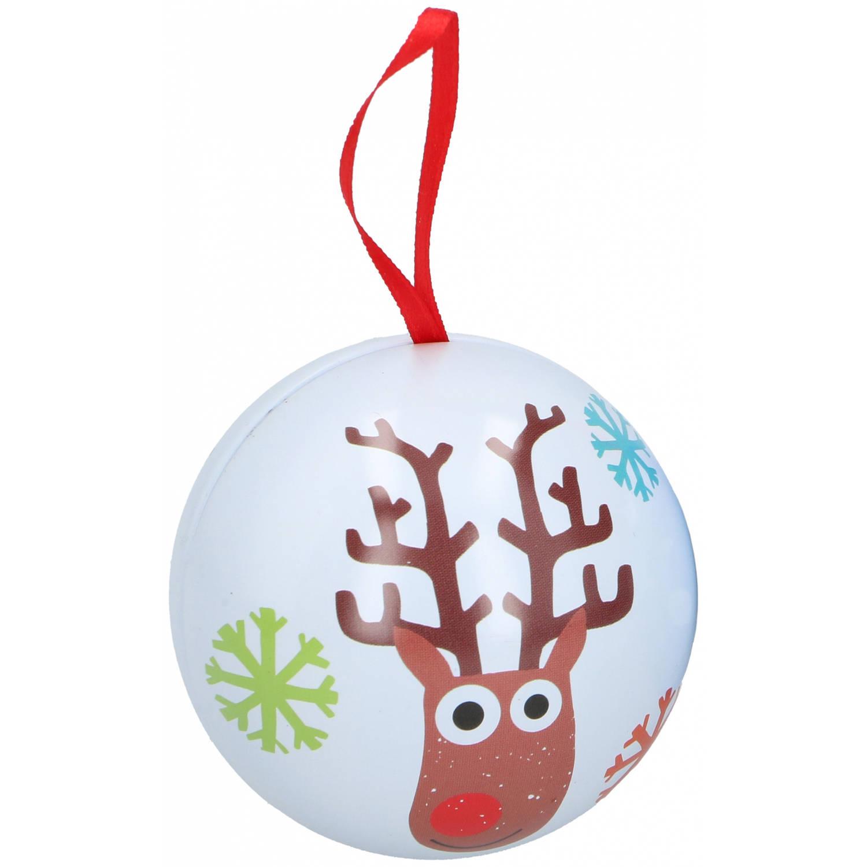 Korting Christmas Gifts Kerstballen Rendier 7 Cm Wit