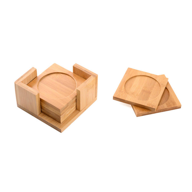 6 Delige Vierkante Onderzetters Set - Bamboe - Incl Onderzetter Houder