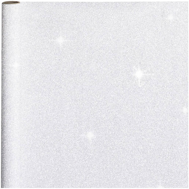 Korting Cadeaupapier inpakpapier Zilver Met Glitters 400 X 70 Cm Cadeaupapier