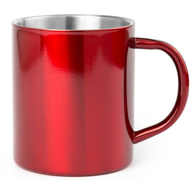 1x Drinkbeker/mok rood 280 ml - RVS - Rode mokken/bekers voor onbijt en lunch