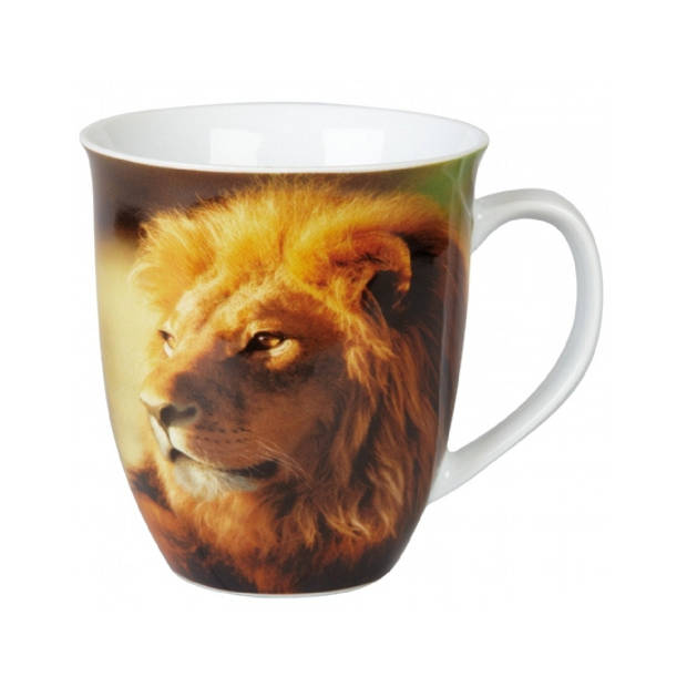 Set van 2x stuks koffie mokken met leeuwen print 400 ml - Drink bekers - Keramiek
