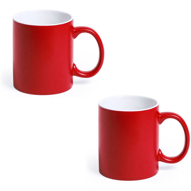 2x Drinkbeker/mok rood/wit 350 ml - Keramiek - Rode mokken/bekers voor onbijt en lunch