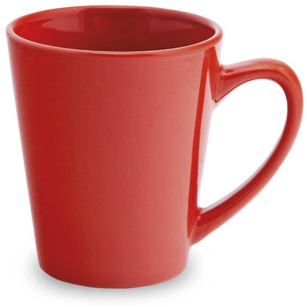 2x Drinkbeker/mok rood 350 ml - Keramiek - Rode mokken/bekers voor onbijt en lunch