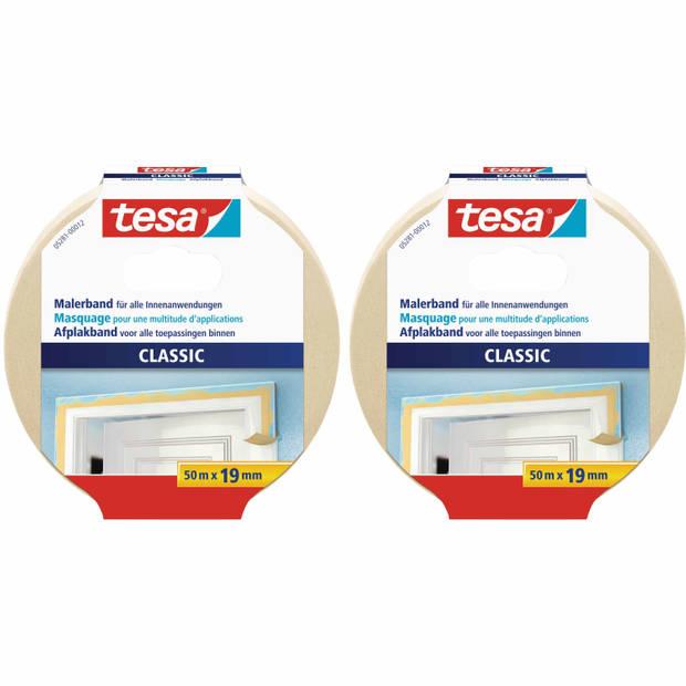 2x rollen afplaktape/schilderstape 19 mm x 50 m - Verf afplakband/tape - Maskeertape - Tesa Masking tape