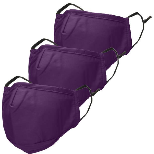 iMoshion 3-Pack Herbruikbaar, wasbaar mondkapje 3-laags katoen - Paars
