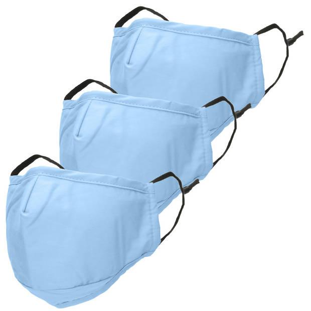 iMoshion 3-Pack Herbruikbaar, wasbaar mondkapje 3-laags katoen - Lichtblauw