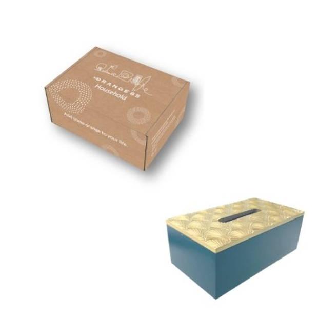 Orange85 Tissuebox Houder Donkerblauw met Goud