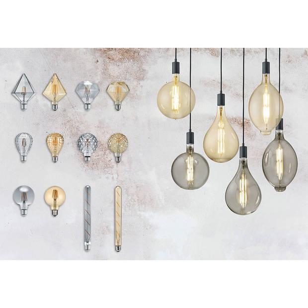 LED Lamp - Design - Trion Tropy - Dimbaar - E27 Fitting - Rookkleur - 8W - Warm Wit 2700K