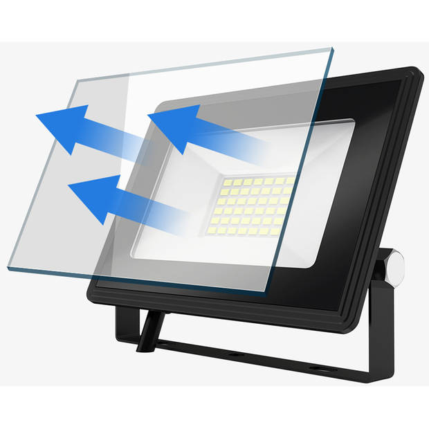 LED Bouwlamp 10 Watt - LED Schijnwerper - Aigi Iglo - Helder/Koud Wit 6400K - Waterdicht IP65 - Mat Zwart - Aluminium
