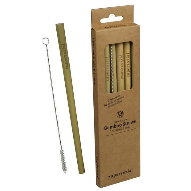 Zuperzozial rietjes herkbruibaar 19 cm bamboe 7-delig