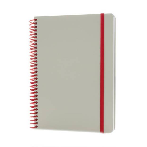 XD Collection notitieboek Deluxe 21 x 15 cm karton grijs/rood