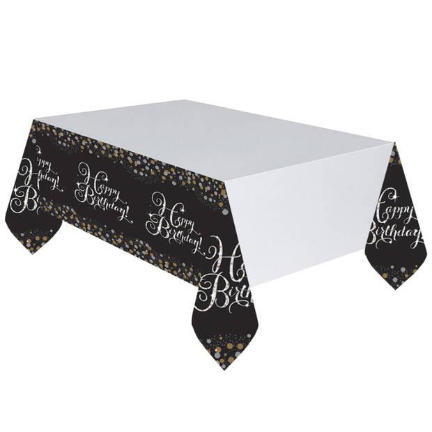 Amscan tafelkleed met tekst zwart/wit 120x180 cm