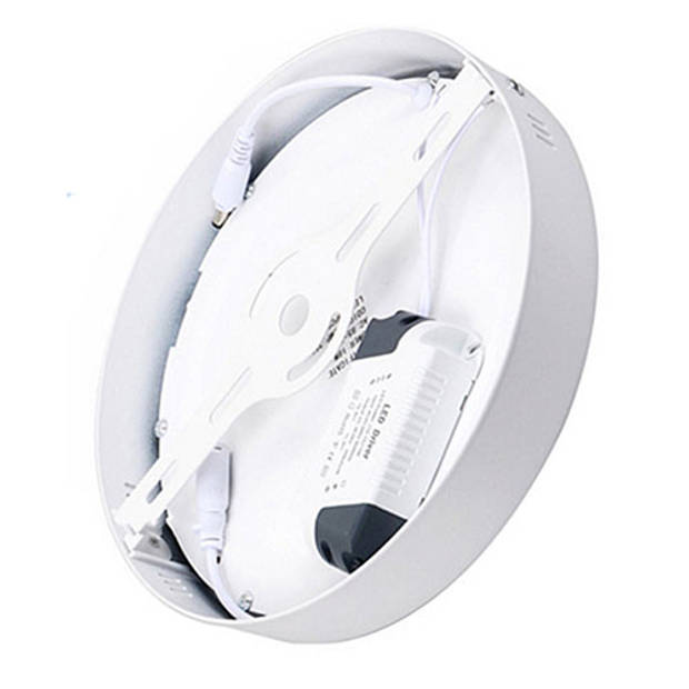 LED Downlight - Opbouw Rond 18W - Natuurlijk Wit 4200K - Mat Wit Aluminium - Ø225mm