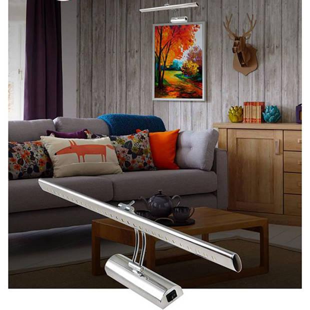 LED Spiegelverlichting - Schilderijverlichting - Ovaal 6W - Glans Chroom Aluminium - Verstelbaar