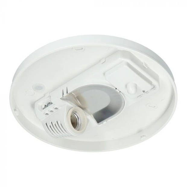 LED Plafondlamp met Bewegingssensor - 360° Sensor - E27 Fitting - Opbouw - Ovaal - Mat Wit - Glas