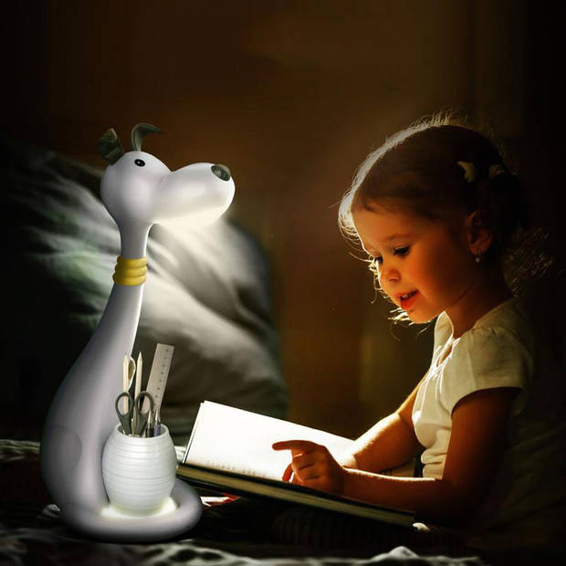 LED Kinder Nachtlamp - Tafellamp - Hond - Aanpasbare Kleur - Wit - Touch - Dimbaar