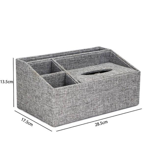 XXL Tissuedoos met 3 Vakken - Textiel - Tissuebox voor tissues -