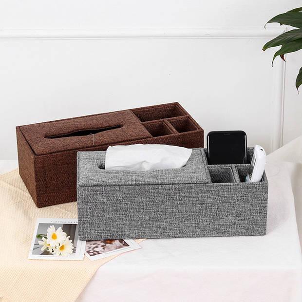 XL Tissuedoos met 3 Vakken - Textiel - Tissuebox voor tissues - Tissue