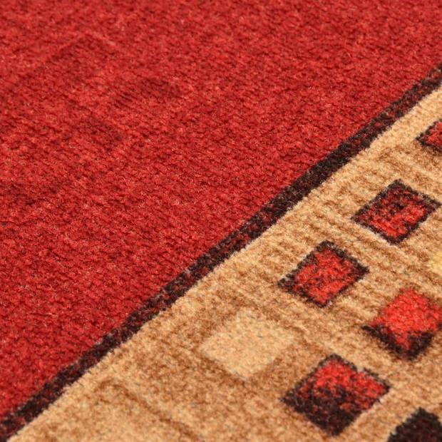 vidaXL Tapijtloper met gelbodem 67x200 cm rood