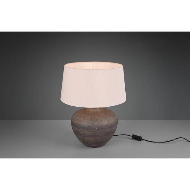 LED Tafellamp - Tafelverlichting - Trion Leau - E27 Fitting - Rond - Mat Bruin - Keramiek