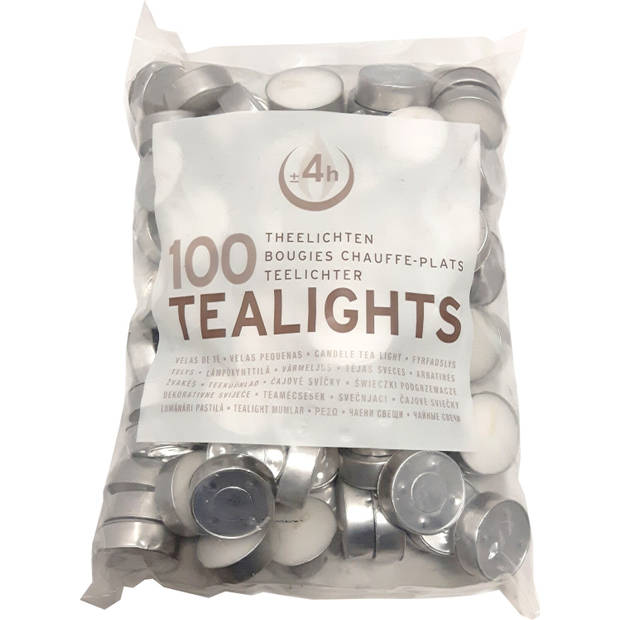 Theelichten - 100 stuks - circa 4 branduren