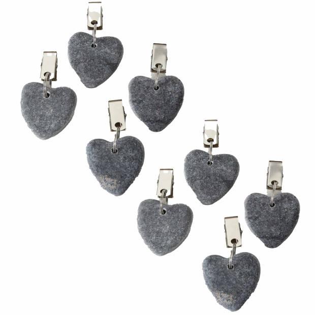 8x Stenen tafelkleedgewichtjes hartjes grijs 4 cm - Tafelkleedklemmen - gewichten hartvorm