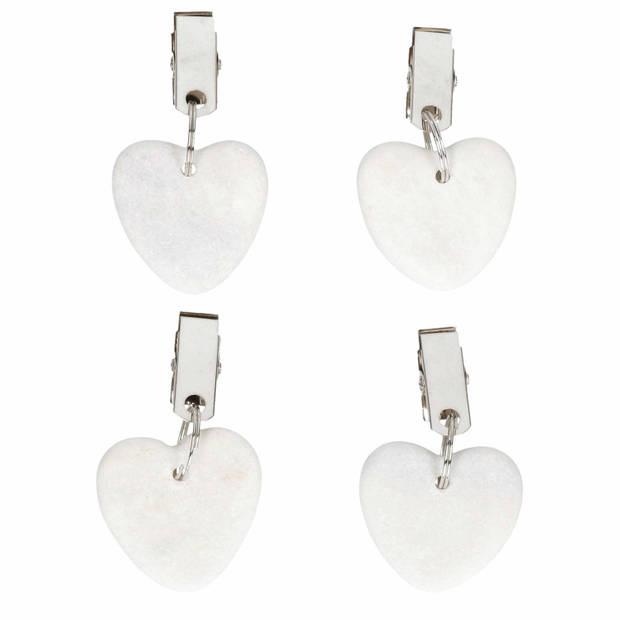 4x Stenen tafelkleedgewichtjes hartjes wit 4 cm - Tafelkleedklemmen - gewichten hartvorm