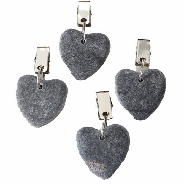 4x Stenen tafelkleedgewichtjes hartjes grijs 4 cm - Tafelkleedklemmen - gewichten hartvorm