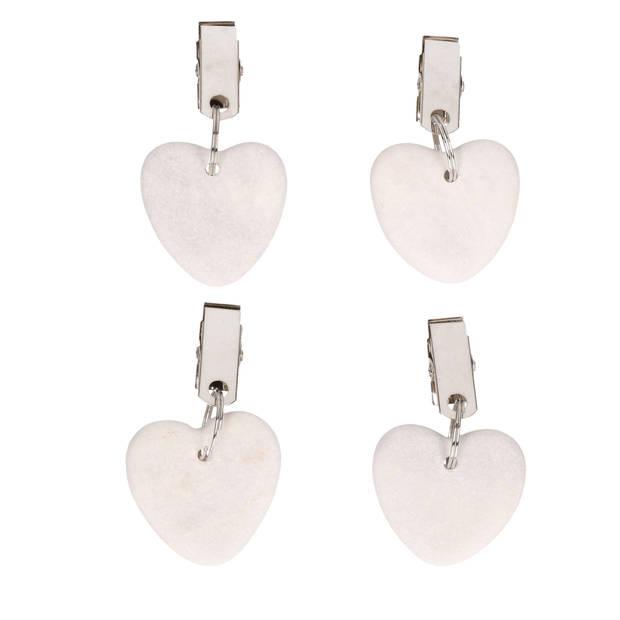 4x Stenen tafelkleedgewichtjes hartjes lichtgrijs 4 cm - Tafelkleedklemmen - gewichten hartvorm