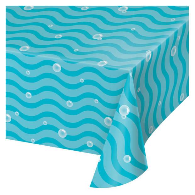 Oceaan/zee themafeest tafelkleed blauw 259 x 137 cm - Kinder feestartikelen/versiering voor op tafel