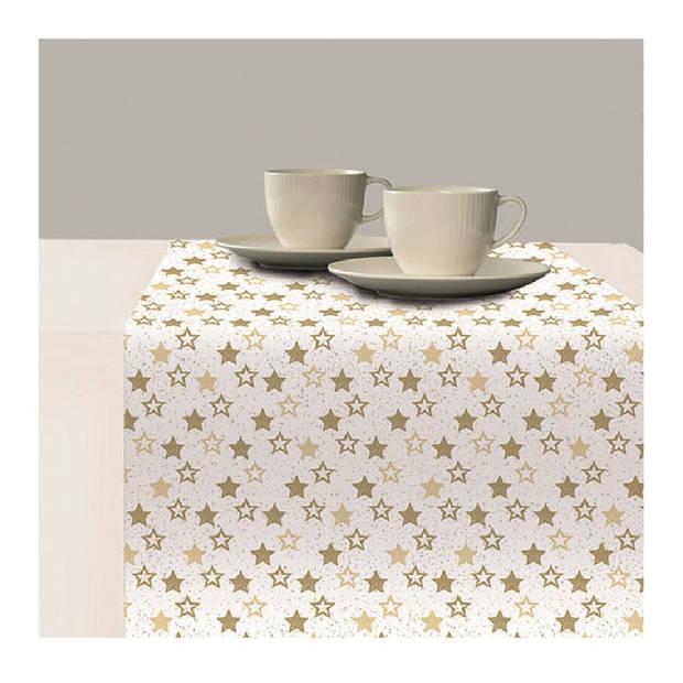 1x Papieren tafelkleden wit met gouden sterren print 140 x 220 cm - Kerst wegwerp/weggooi tafelkleden