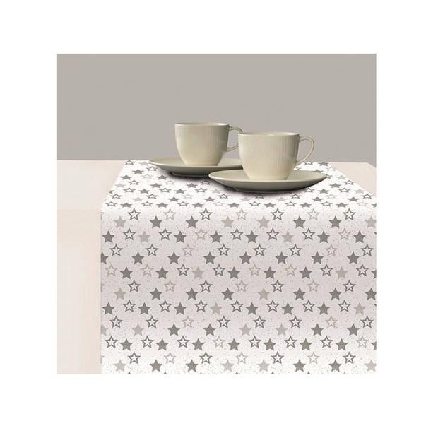 1x Papieren tafelkleden wit met zilveren sterren print 120 x 180 cm - Kerst wegwerp/weggooi tafelkleden
