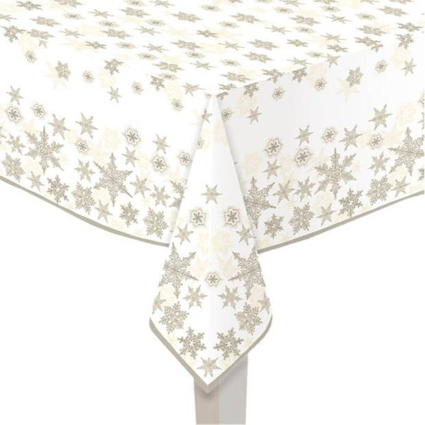 Papieren tafelkleden wit met gouden sterren print 120 x 180 cm - Kerst wegwerp/weggooi tafelkleden