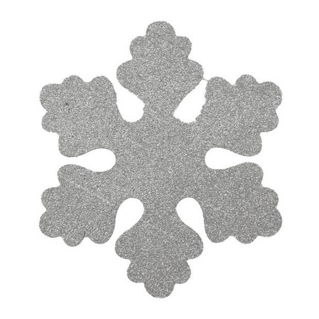 Zilveren sneeuwvlokken 25 cm - hangdecoratie / boomversiering zilver