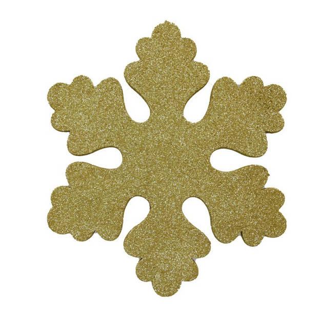 Gouden sneeuwvlokken 25 cm - hangdecoratie / boomversiering goud