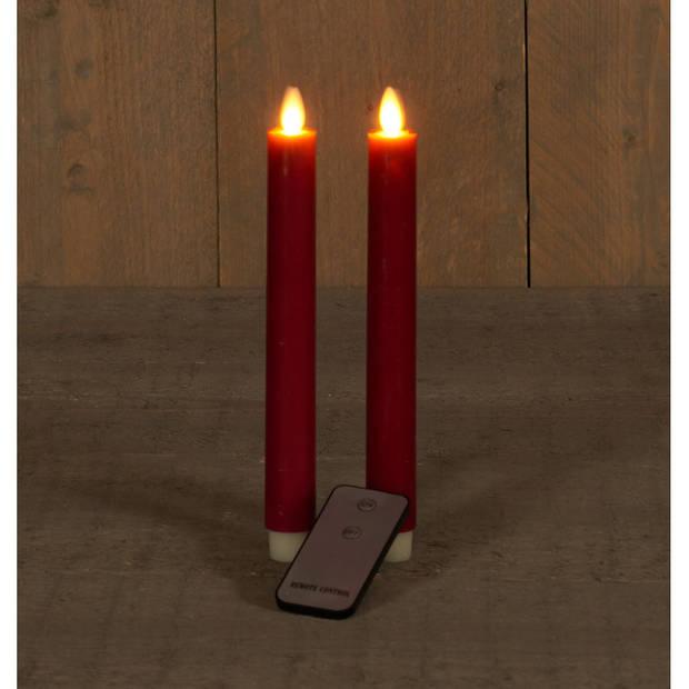 2x Bordeaux rode LED kaarsen/dinerkaarsen op afstandsbediening 23 cm - LED kaarsen op batterijen