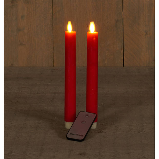2x Rode LED kaarsen/dinerkaarsen op afstandsbediening 23 cm - LED kaarsen op batterijen
